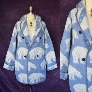 Lillunn Nordic polar bear wool blanket coat